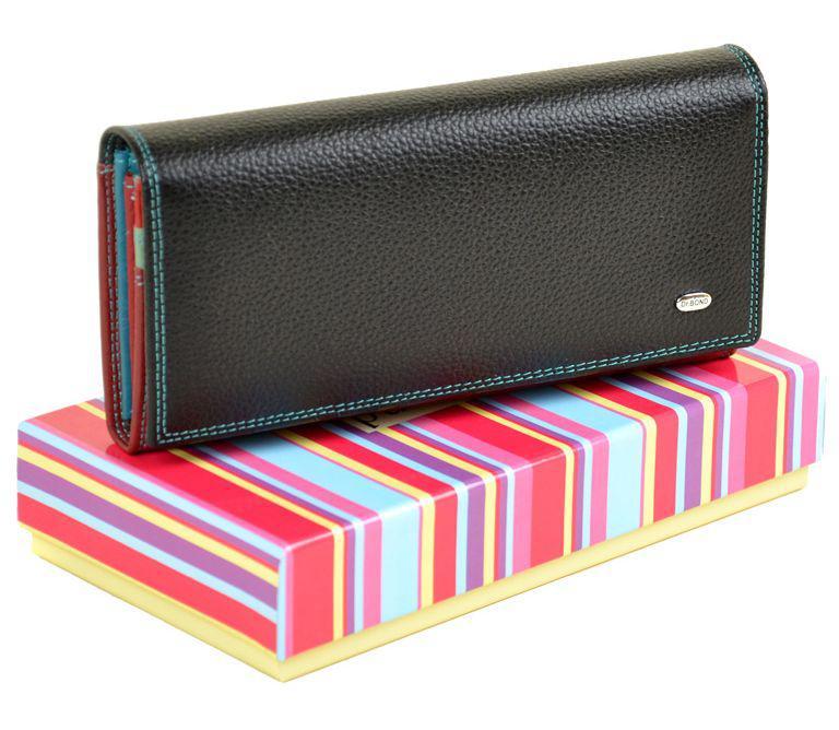 4c3b96d8dd04 Классический женский кожаный кошелек, dr.Bond RainbowW1-V black, черный