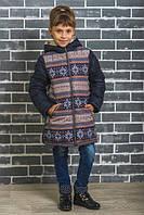 Зимнее пальто на девочку темно-синее