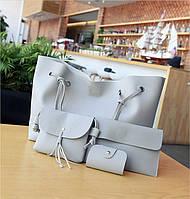 Женская сумка серая большая, маленькая сумочка, клатч и визитница набор 4в1 опт, фото 1