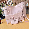 Женская сумка большая, маленькая сумочка, клатч и визитница набор 4в1 розовый опт