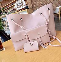Женская сумка большая, маленькая сумочка, клатч и визитница набор 4в1 розовый опт, фото 1
