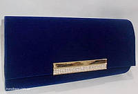 Женский праздничный клатч 046 Синий велюр. Вечерние сумочки, клатчи праздничные, клатчи на празник