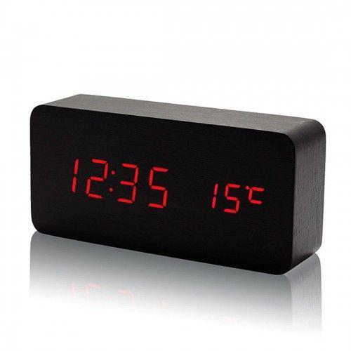 Часы дерево VST 862 подсветка Black Red