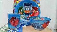 Детский набор посуды из керамики Герои в масках 3 предмета