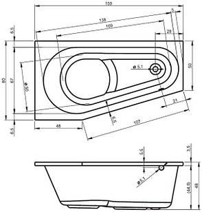 Ванна Riho Delta асиметрична 150*80 см, R (BB80), фото 2