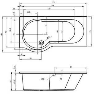 Ванна Riho Dorado асиметрична 170*75/90 см, R (BA80), фото 2