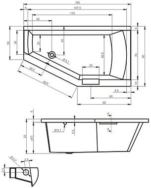 Ванна Riho Geta асиметрична 160*90 см, L (BA87), фото 2