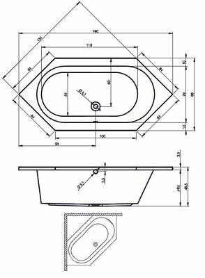 Ванна Riho Kansas шестигранна 190*90 см (BA97), фото 2
