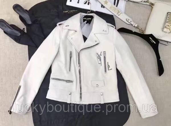 58b8d2ef034 Кожаная белая куртка Yves Saint Laurent (YSL) -