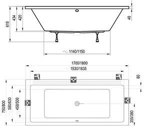 Ванна Ravak Formy 01 180x80 (C881000000), фото 2