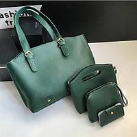 Женская сумка в наборе + мини сумочка зеленая 4в1 экокожа опт, фото 1