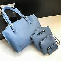 Жіноча сумка в наборі + міні сумочка блакитна 4в1 екокожа опт, фото 1
