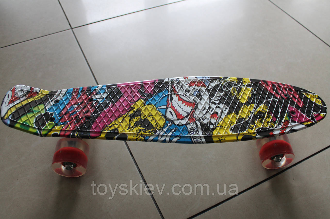 Скейт Пенни борд (Penny board) 820-0 с рисунком, светящийся