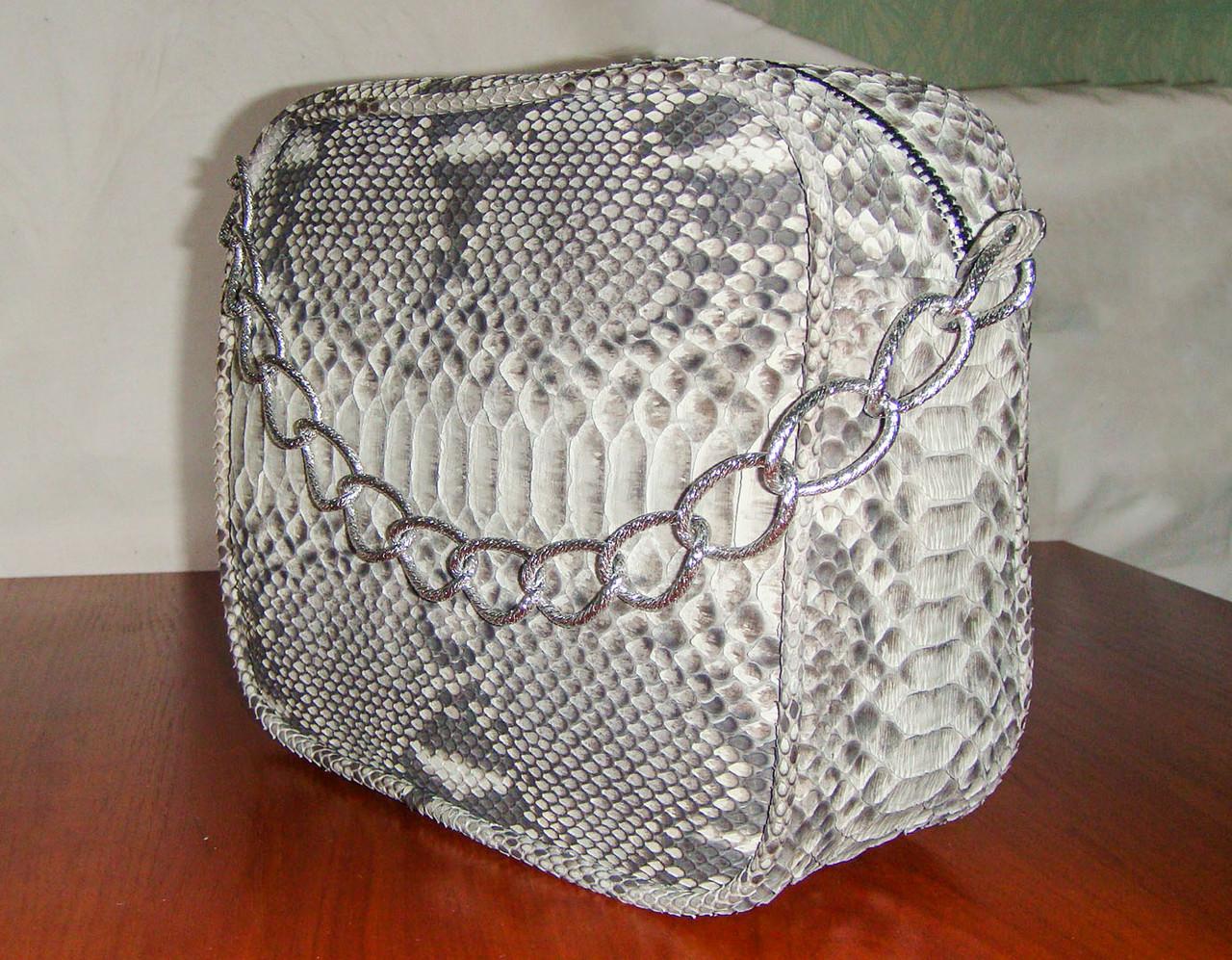 Прямоугольная маленькая сумка из натуральной кожи питона