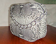 Прямоугольная маленькая сумка из натуральной кожи питона, фото 1