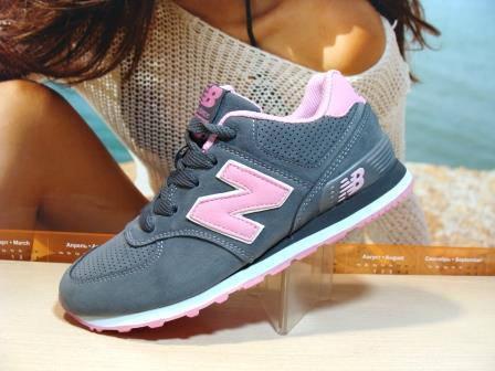 Кроссовки женские New Balance 574 (реплика) серо-розовые 38 р ... 7f64a6e7e67