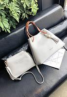 Женская большая сумка + маленькая набор 2в1 серый, фото 1