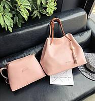 Женская большая сумка + маленькая розовая набор 2в1 из экокожи опт, фото 1