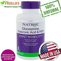 Natrol, Комплекс «Гиалуроновая кислота MСM и глюкозамин», 90 капсул, купить, цена, отзывы