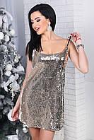 Женское вечернее платье с паетками TINA цвет Золото