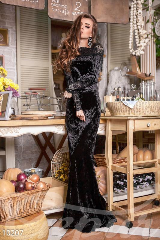 Черное вечернее  велюровое платье в пол
