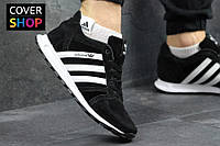 Кроссовки мужские adidas NEO, цвет - черно-белый, материал - натуральная замша, подошва - пенка