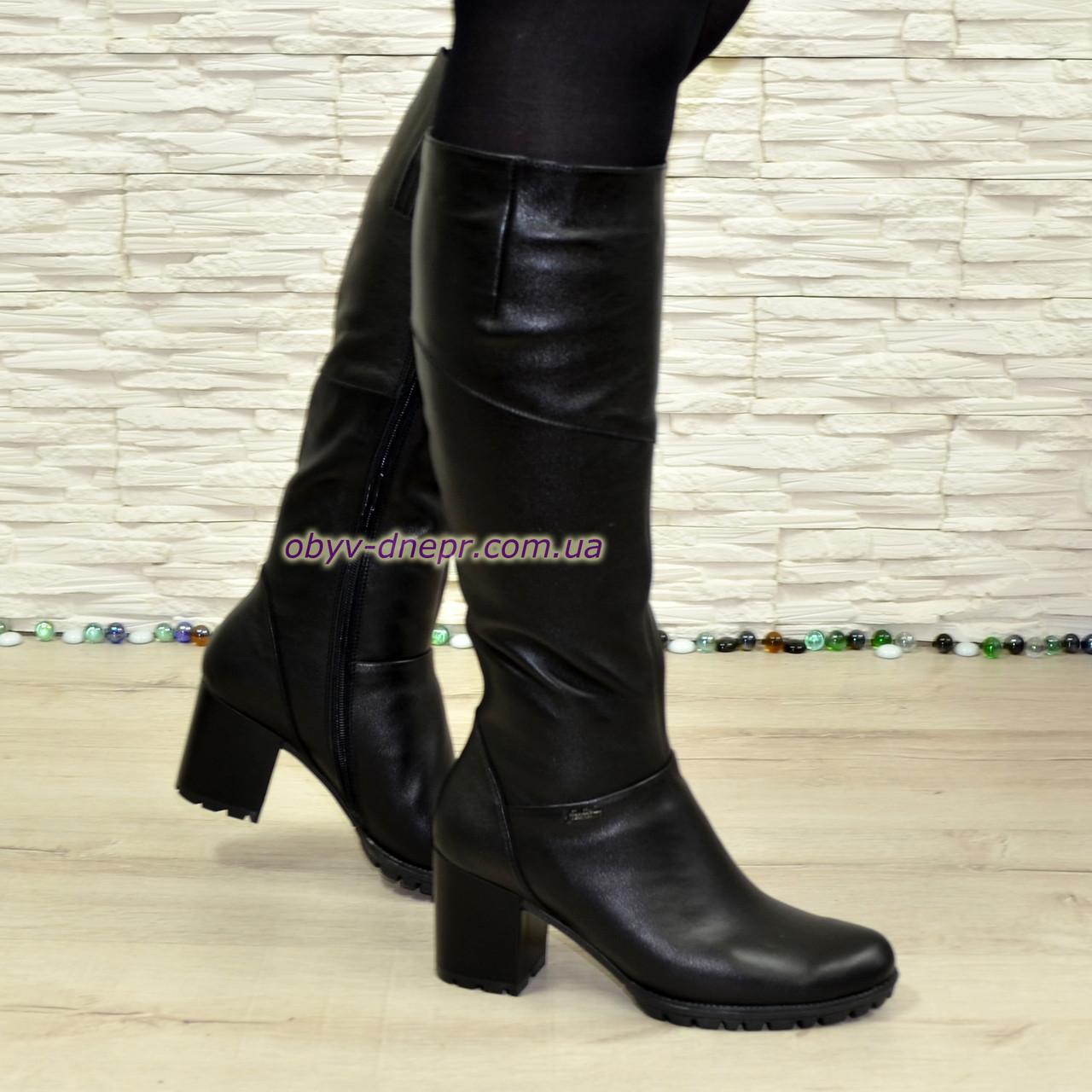 Сапоги женские зимние на устойчивом каблуке, натуральная черная кожа.