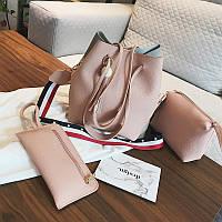 Женская сумка с кисточкой розовая набор 3в1 экокожа опт, фото 1