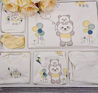 """Трикотажный набор для новорождённого """"Мишки на прогулке"""" 10 предметов"""