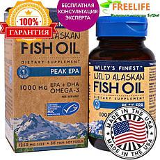 Wiley's Finest, Аляскинська риб'ячий жир, пік ЕПК, 1250 мг, 30 рибних м'яких капсул