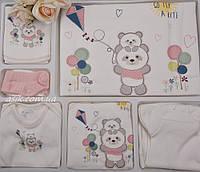 """Набор из трикотажа для новорождённого """"Мишки на прогулке"""" 10 предметов"""