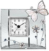Прекрасные настольные часы с бабочками Jardin D'ete 15 825, (метал+стекло+хрусталь)