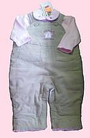 Комплект теплой одежды для девочки: трикотажный батник, утепленный комбинезон