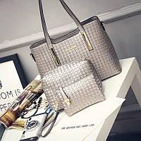 Женская сумка набор 3в1 + маленькая сумочка и клатч серебро опт