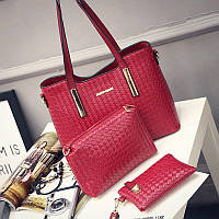 Женская сумка набор 3в1 + маленькая сумочка и клатч красный опт
