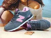 Женские кроссовки New Balance 574 (реплика) серо-розовые 36 р., фото 1