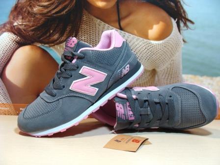 Женские кроссовки New Balance 574 (реплика) серо-розовые 36 р.