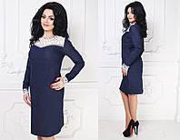 Синее джинсовое платье с кружевом батал