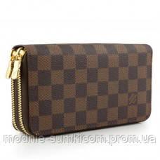 034e84cf46e4 Кошелек Louis Vuitton Damier Ebene Canvas Double Zipper Wallet - Онлайн  магазин «Modnie Sumki»