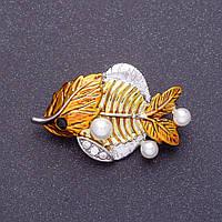 """Брошь """"Золотая рыбка"""" эмаль, 3,5х2см цвет металла серебро"""