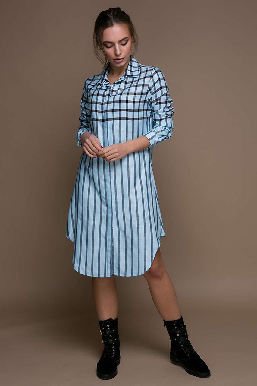 Красивое платье-рубашка в полоску (POLO) KURT голубое