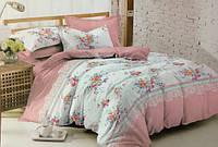 Поплин набивной 220см цветы с розовым купоном