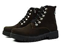 Темно-коричневые зимние женские кожаные ботинки TIMBERLAND на меху ( шерсть )