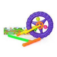 Каталка 3620  колесо на палке, трещалка, в кульке, 24-40см