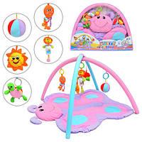 Коврик 898-11 B  бабочка, подвески, погремушки, в сумке, 77-58см