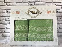 Подарочный набор полотенец в коробке Pupilla 2 в 1 (лицо, баня) бамбук №4925