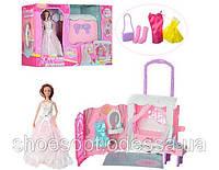 Кукла шарнирная со чемоданом- спальней, мебель, наряды