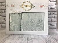 Подарочный набор полотенец в коробке Pupilla 2 в 1 (лицо, баня) велюр №5024