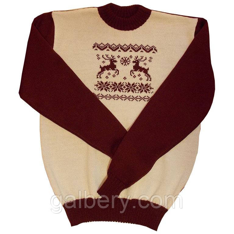 """Дизайнерский вязаный мужской свитер из коллекции """"Зимние узоры"""""""