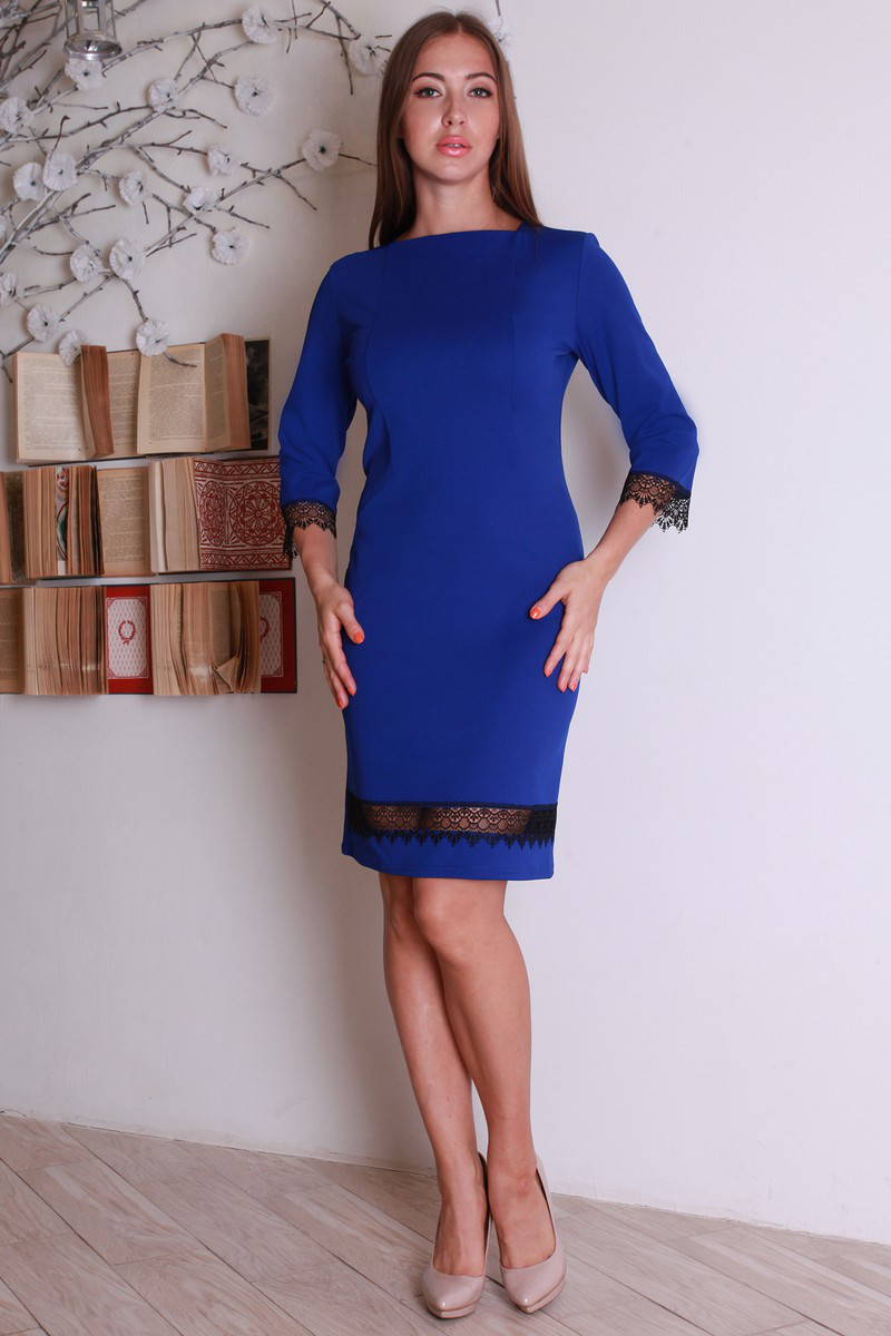 Стильное классическое деловое платье с красивым кружевом